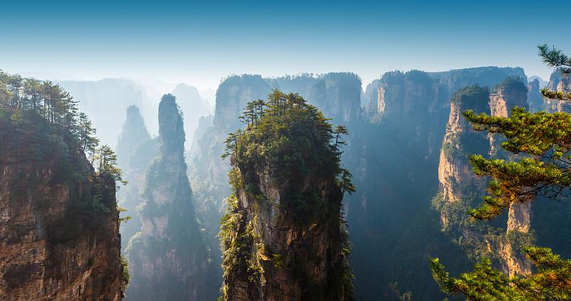 地形,山,秘密,旅途,世界遗产,沙岩,张家界,湖南省,武陵源,自然现象
