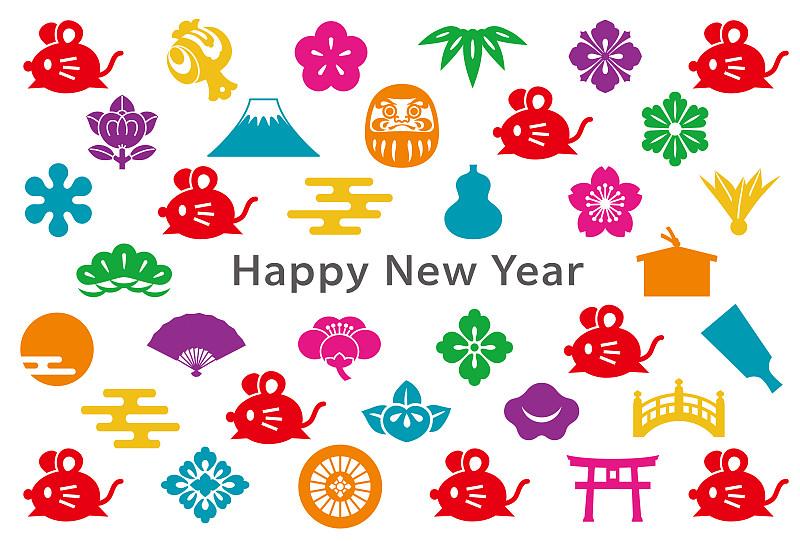 日本,鼠,计算机图标,新年卡,多色的,传统,背景,图像,绘画插图,矢量