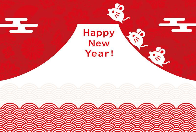 贺卡,新年前夕,鼠,十二生肖,欧洲赤松,传统,2020,春节,云,复古风格