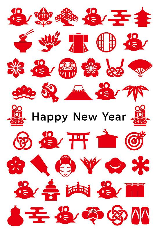 日本,计算机图标,鼠,新年卡,传统,2020,春节,新年前夕,云,复古风格