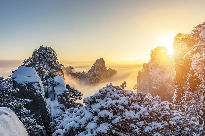 冬天,黄山山脉,地形,寒冷,云景,曙暮光,环境,霜,雪,中国