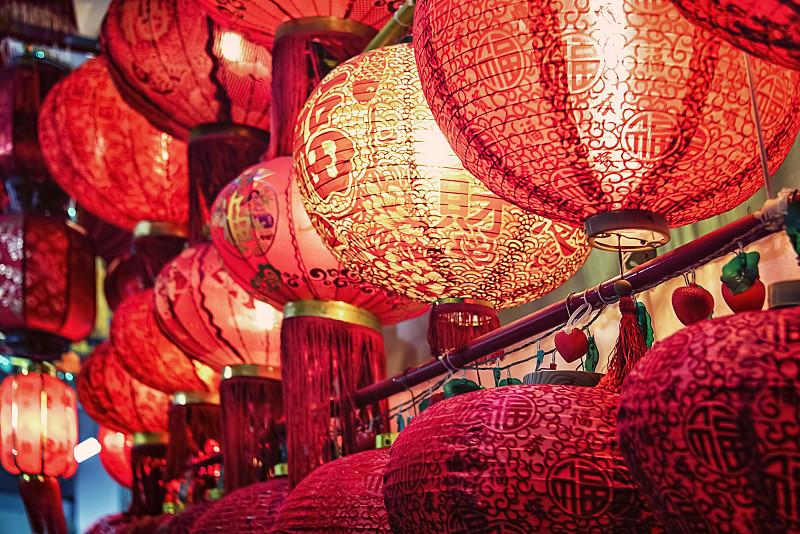 春节,夜晚,明亮,红色,纸,新的,传统,运气,幸福,艺术