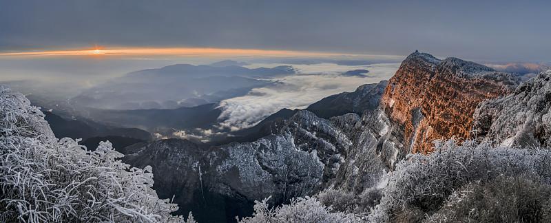 山,佛教,云,全景,冬天,图像,雪,无人,中国,四川省
