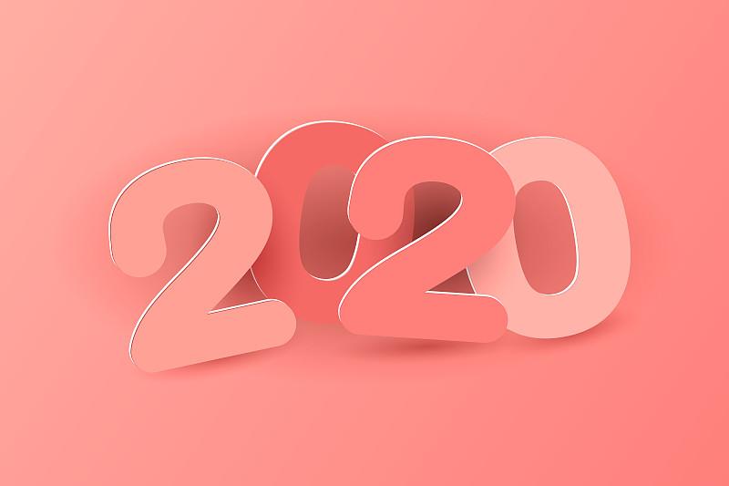 新年前夕,2019,请柬,2020,事件,贺卡,立体图像,蓝图,复古风格,模板