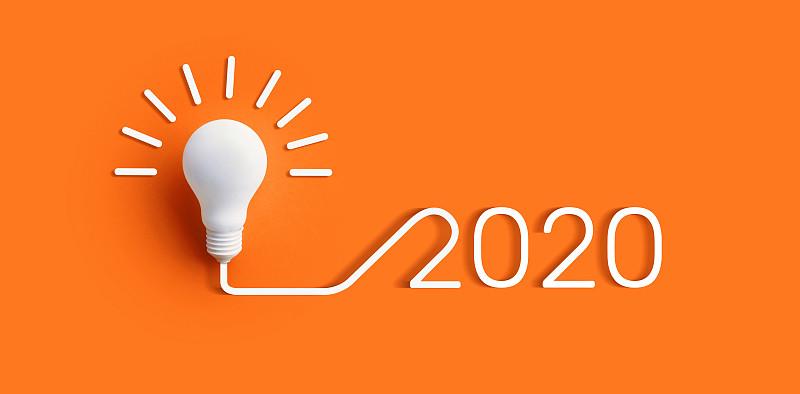 2020,商务,电灯泡,创造力,概念,彩色背景,活力,策略,技术,自然神力