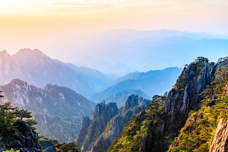 山脉,自然美,黄山,云,黄昏,松树,户外,晴朗,自然