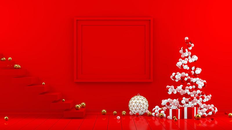 边框,三维图形,红色,新年前夕,起居室,极简构图,无人,概念,华丽的