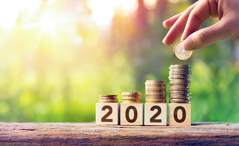 2020,概念,木托,商务,新年前夕,图表,商业金融和工业,立方体形状,存钱罐,救球
