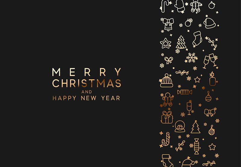 高雅,新年前夕,黄金,直的,黑色背景,华丽的,请柬,贺卡,复古风格