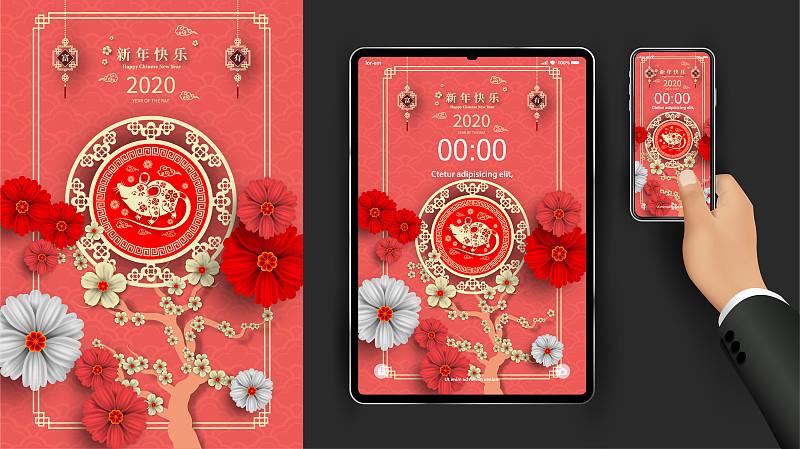 电话机,幸福,2020,春节,新年前夕,显示器,鼠年,决心,壁纸