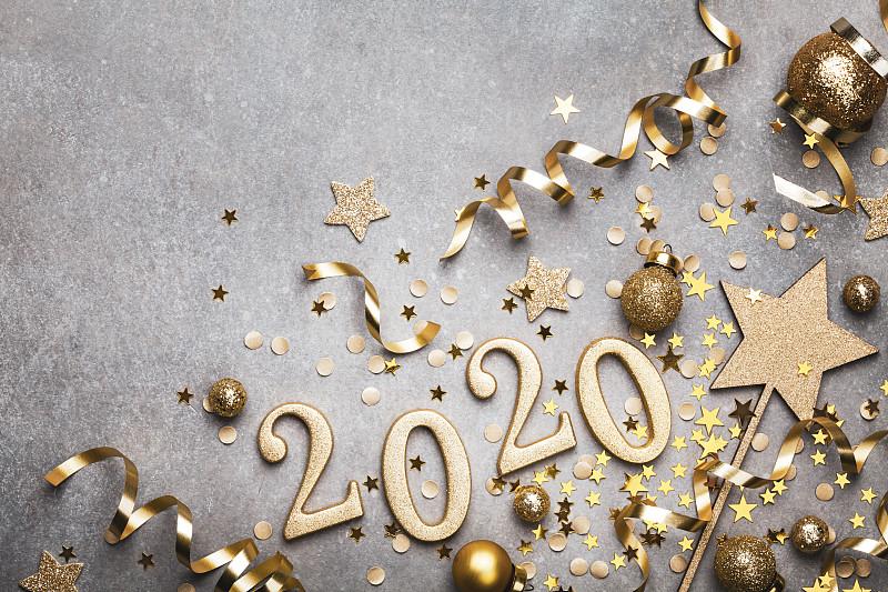 2020,新年前夕,节日,星形,五彩纸屑,金色,数字,圣诞装饰,背景聚焦,上装