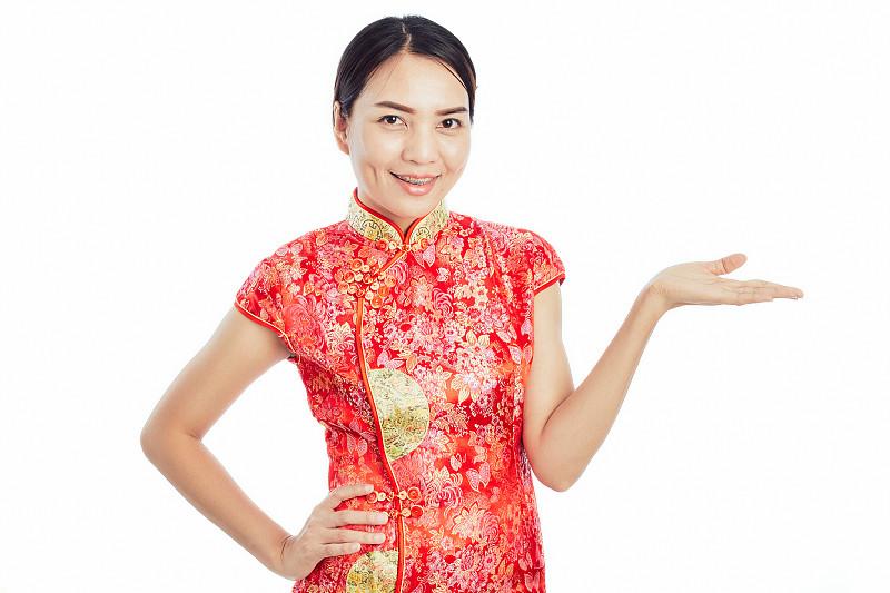 礼物,亚洲,旗袍,手,太空,女孩,白色背景,可爱的,春节,肖像