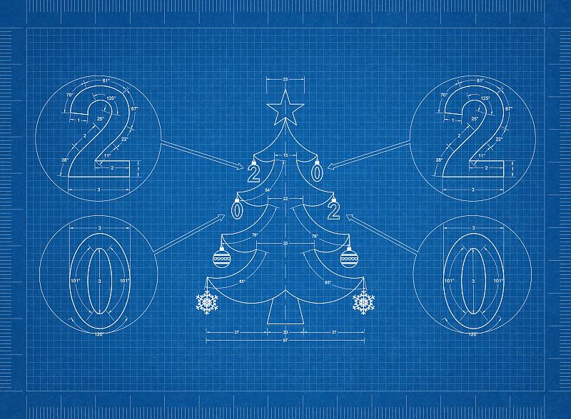 2020,蓝图,圣诞树,传统,商务,球体,几何形状,测量工具,工程师,技术
