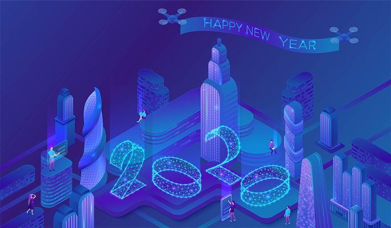 矢量,概念,霓虹灯,数字,三维图形,蓝色,日历,未来,绘画插图,新年前夕