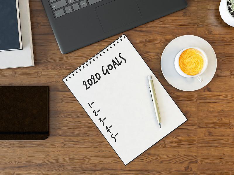 新年前夕,书桌,清单,办公室,球门,短语,2020,咖啡杯,自我完善,信函