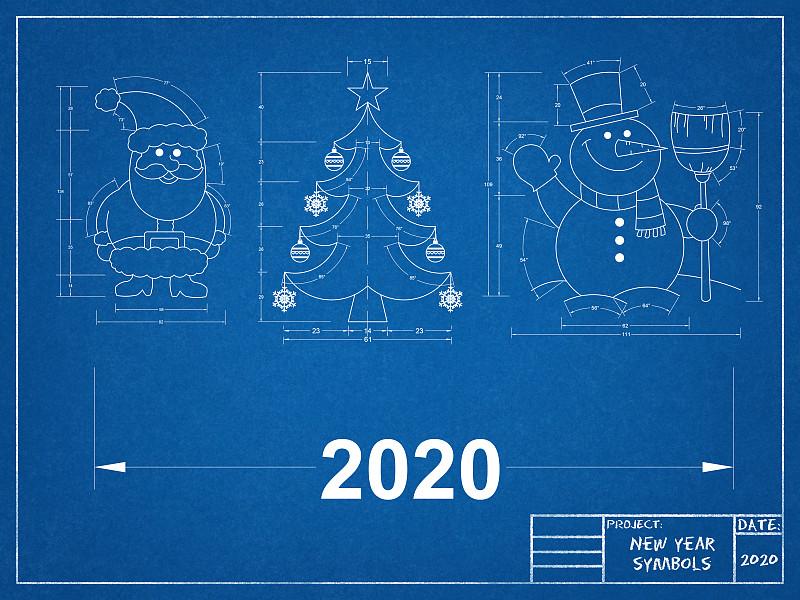 蓝图,新年前夕,符号,可爱的,商务,2020,测量工具,一月,技术,霜