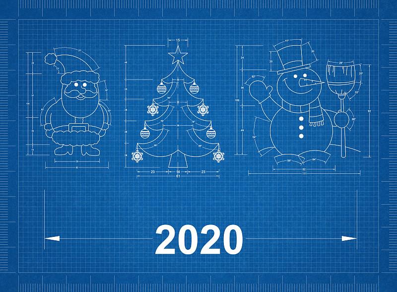 蓝图,符号,新年前夕,可爱的,商务,2020,测量工具,一月,技术,霜