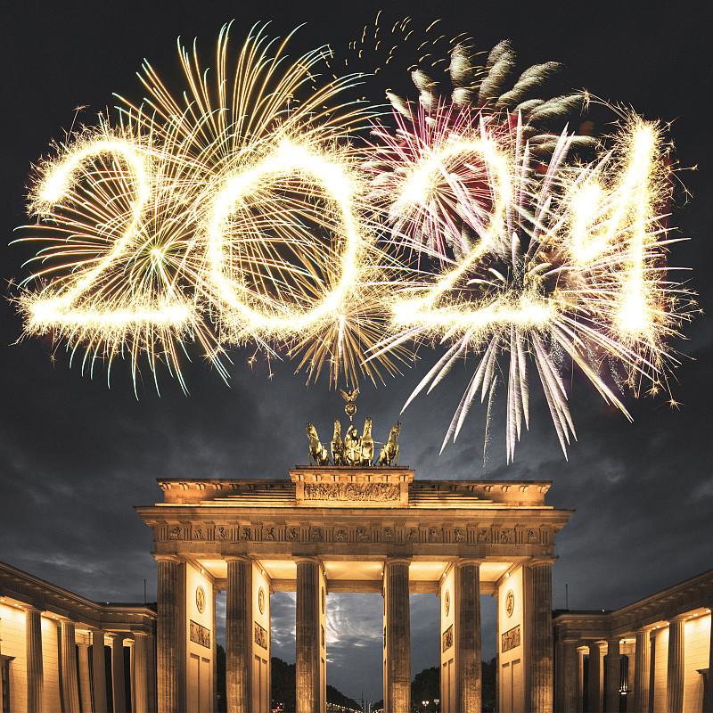 新年前夕,焰火,德国,2019,国际著名景点,法定假日,广场,城门,著名景点,胜利女神四马战车雕像