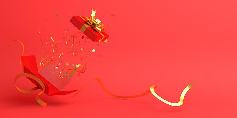 概念,新年前夕,黄金,包装纸,五彩纸屑,开着的,平铺,红色背景,设计