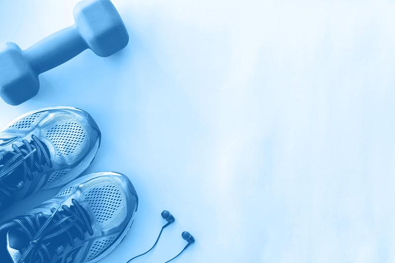 空的,运动,背景,耳机,概念,彩色图片,蓝色,留白,哑铃,单色图片