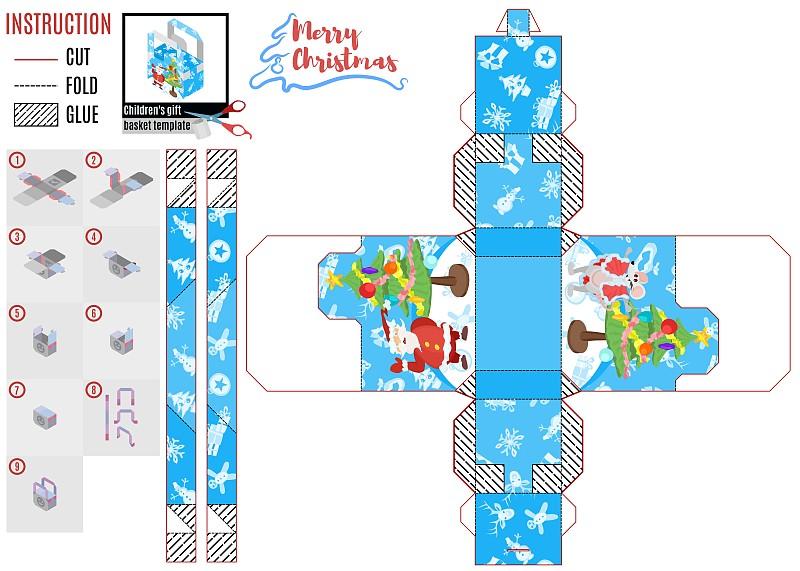 模板,盒子,新年,式样,性格,圣诞老公,背景分离,玩具,蓝图,小的