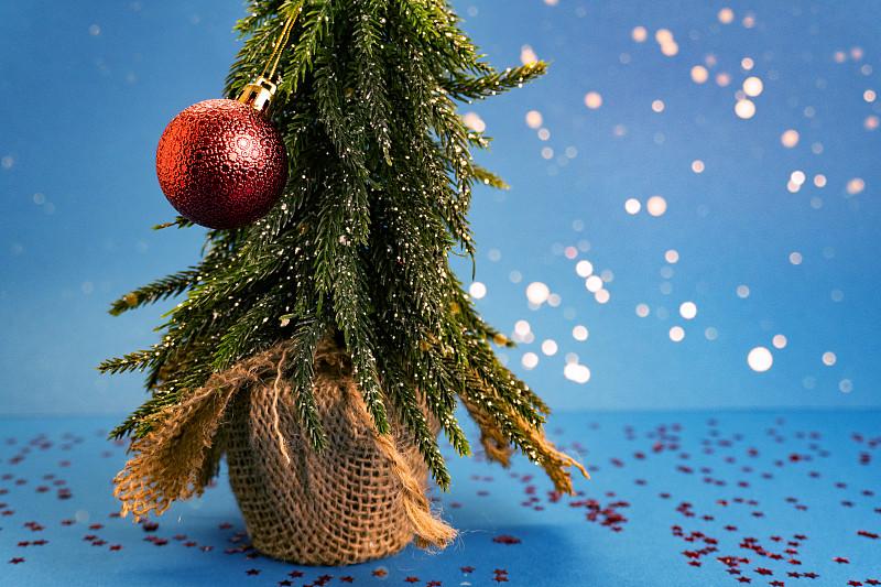 玩具,概念,新年前夕,星形,绿色,蓝色,留白,蓝色背景,树