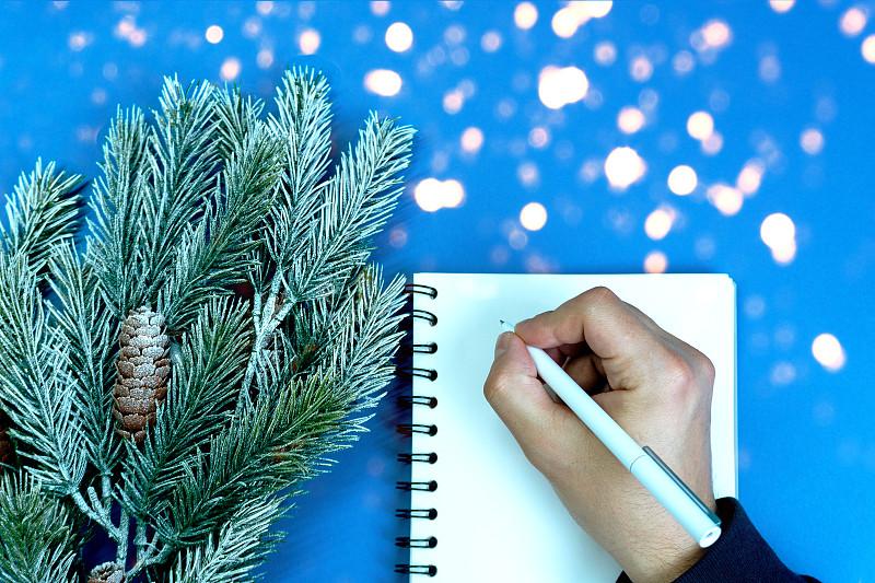 2020,铅笔,时尚,白色,空白的,概念,手,笔记本,彩色图片,蓝色