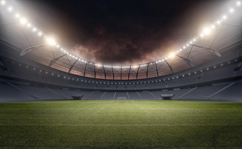 体育场,球,休闲活动,水平画幅,云,夜晚,无人,户外,光,草