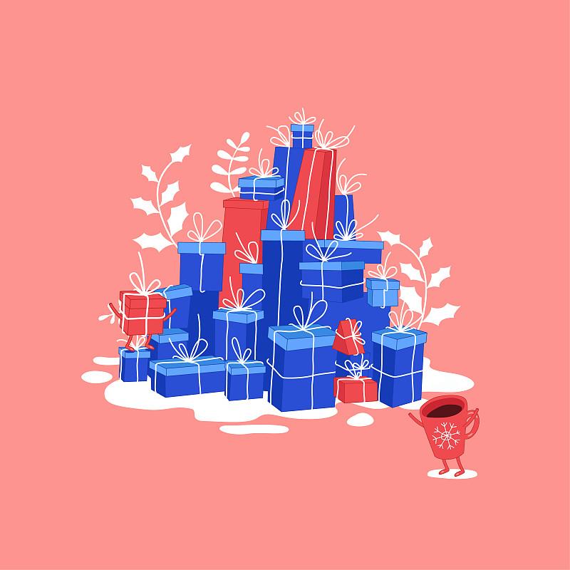 贺卡,新年前夕,包装纸,雪,周年纪念,请柬,环境,热可可,天气
