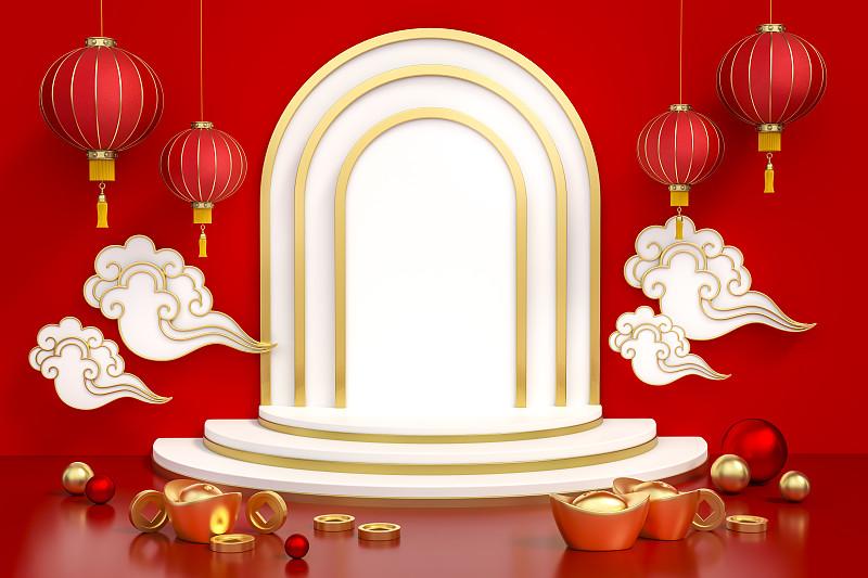 春节,传统节日,绘画插图,幸福,黄金,指挥台,陈列柜,红色背景,问候