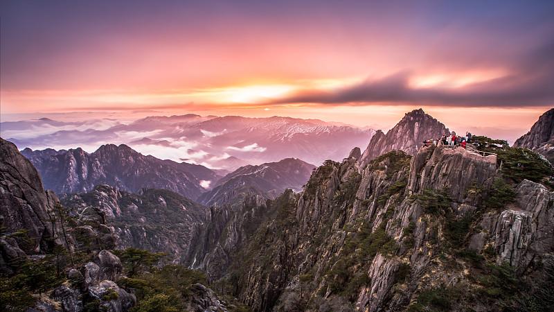 黎明,黄山,旅途,云景,风,云,橙色,著名景点,自然美,中国