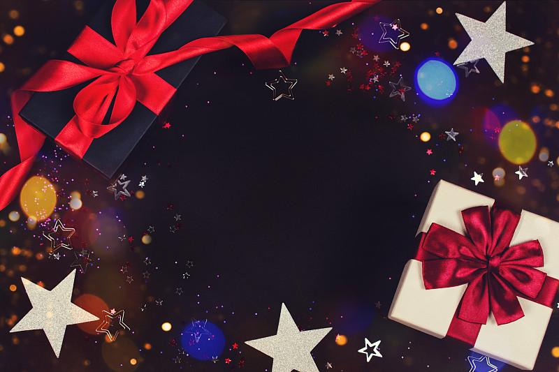 礼物,黑色背景,盒子,2020,华贵,浪漫,凌乱,丝绸,幸福,生日