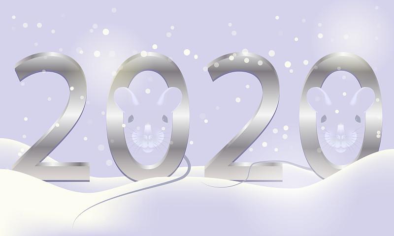 2020,白色,金属,符号,鼠,老鼠,春节,新年前夕,雪,背景
