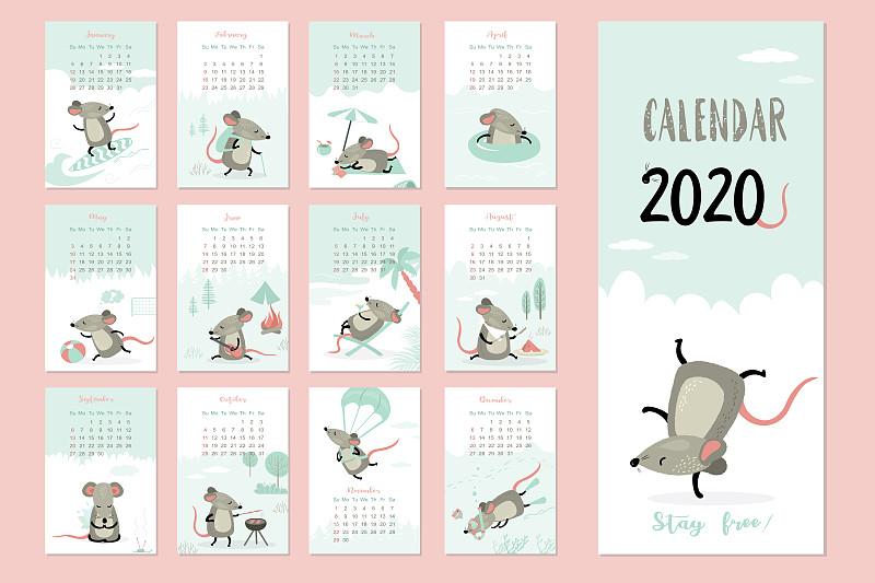 鼠年,模板,日历,12到15个月,可爱的,商务,2020,事件,贺卡,中文