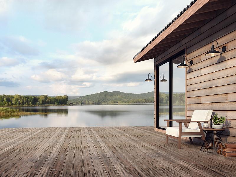 三维图形,木制,建筑外部,房屋,自然美,湖,山景城,热,舒服,泰国