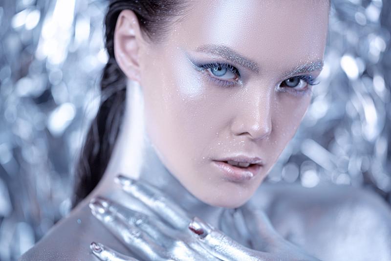 金属质感,多色的,特写,女人,人的脸部,时尚,艺术,注视镜头,彩妆
