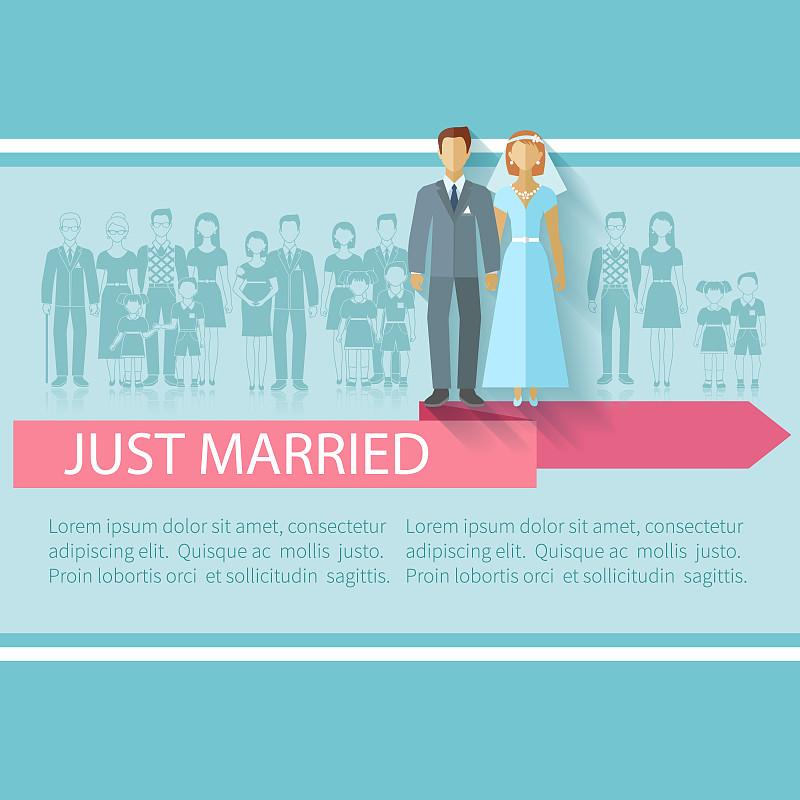 家庭,平坦的,计算机图标,老年男人,无尾礼服,请柬,传单,婚姻,正装,婚礼