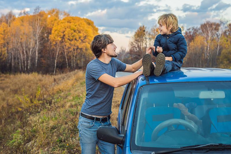 儿童,路,自驾游,父亲,公亩,概念,儿子,旅途,兄弟,家庭