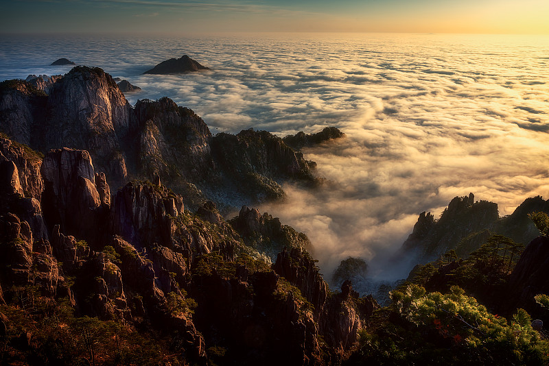 寒冷,云景,山脊,灰色,云,雪,中国,岩石,户外,天空