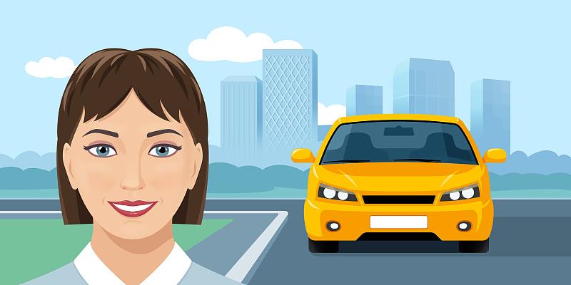 汽车,黄色,青年女人,城市,背景聚焦,交通,肖像,汽车共享,模板