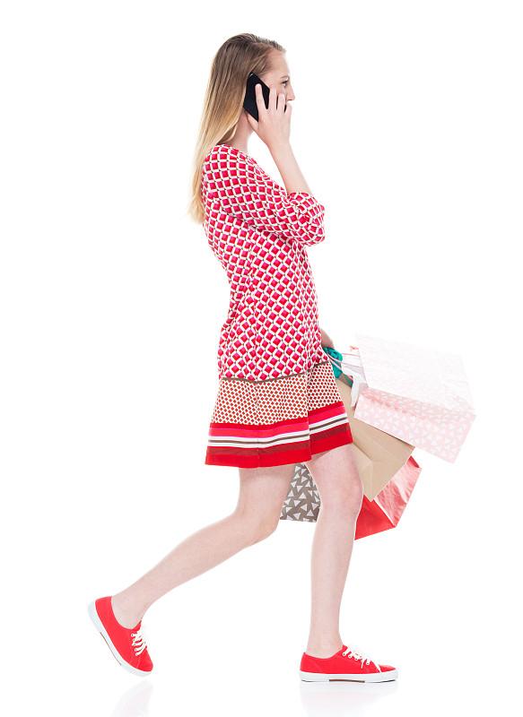 拿着,少女,购物袋,购物狂,连衣裙,手机,衣服,白色人种,步行,做