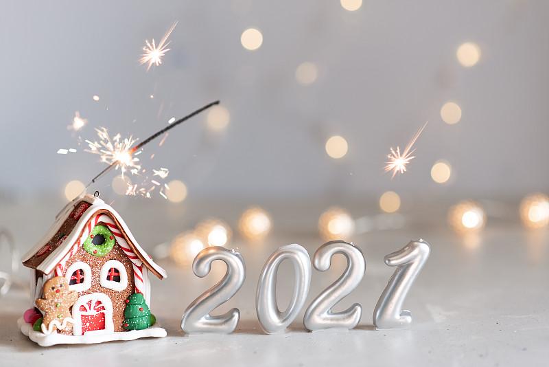 2021,气球,新年前夕,放焰火,银色