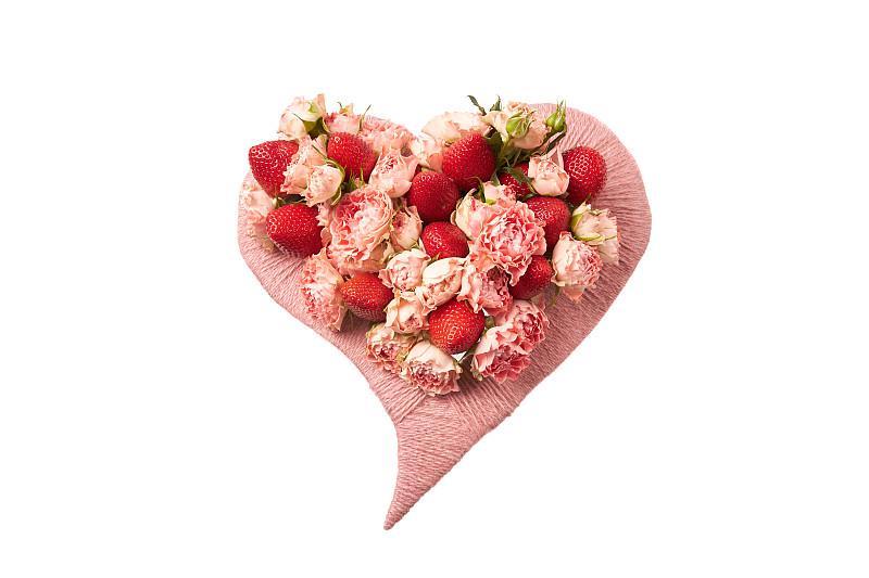 玫瑰,草莓,熟的,心型,白色背景,礼物,充满的,女人,爱