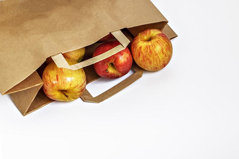 商品,环境保护,苹果,环境,纸袋,无人,褐色,平衡折角灯,白色背景,包装