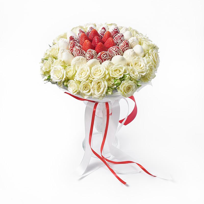 白色,玫瑰,花束,白色背景,清新,草莓,花瓶,白巧克力,华丽的,问候