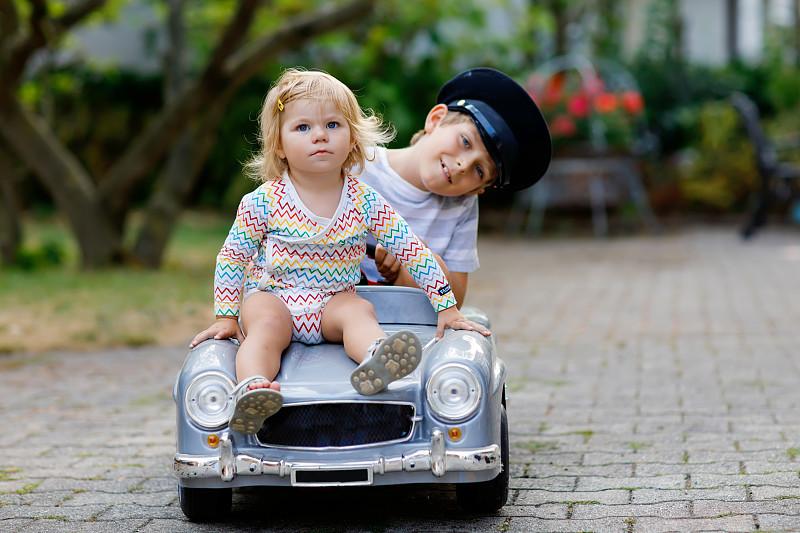 儿童,女孩,家庭,童年,户外,幼儿,小的,幸福,笑,驾车