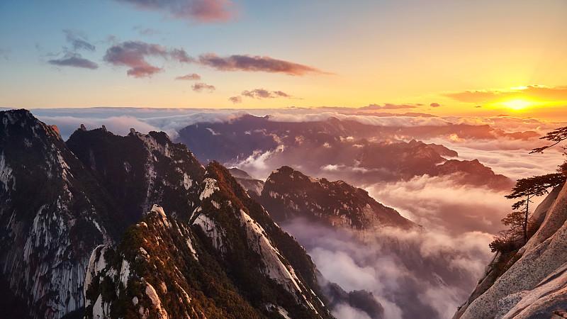 地形,山,华山,国家公园,秘密,陕西省,云,中国,岩石,户外