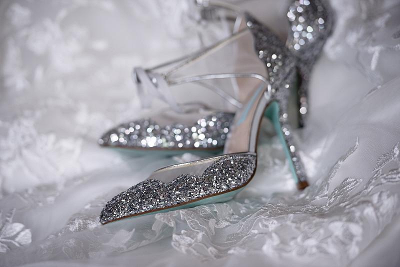 鞋子,闪亮的,婚礼,白色,新娘,婚纱,早晨,银色,凉鞋,一对
