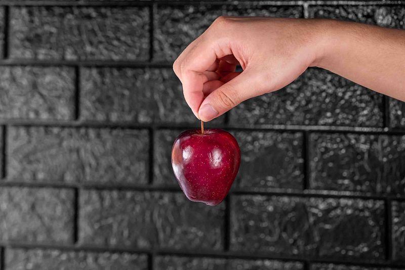 红色,清新,苹果,手,等,男人,在之间,羊毛帽,活力,农业