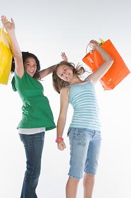 青少年,购物袋,垂直画幅,彩色图片,少女,仅青少年,欢乐,乐趣,包,摄影